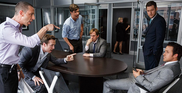 Christian Bale, Steve Carell, Ryan Gosling in The Big Short