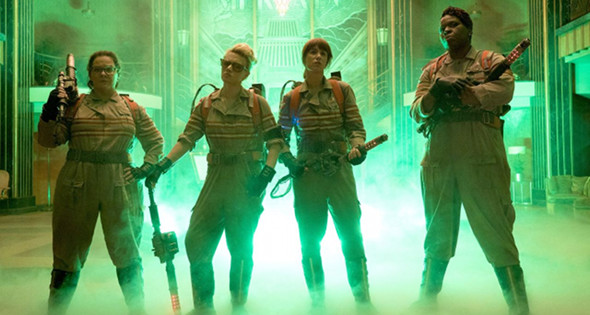 Melissa McCarthy, Kristen Wiig, Kate McKinnon and Leslie Jones in Ghostbusters