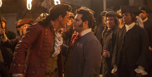Luke Evans and Josh Gad in Beauty and the Beast (2017)